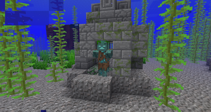 Underwater ruins spawned with a 'Drowned' mob